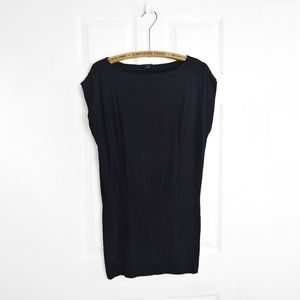 THEORY Black Dolman Sleeve Crepe Cocktail Dress
